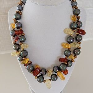 Amber, Pearl & Sterling Silver Statement Necklace